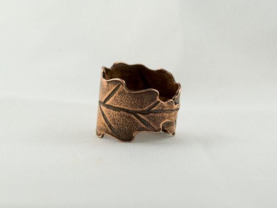 rustic copper oak leaf adjustable ring €20.50