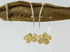 brass and silver buttercup hoops €24.50