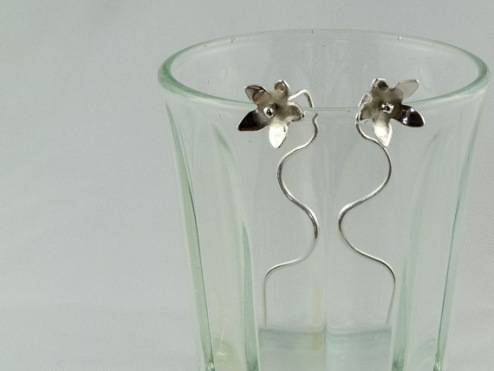 silver jasmine flower earrings 27.50