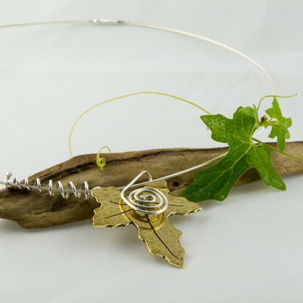 picture of brass and silver bryony leaf necklace