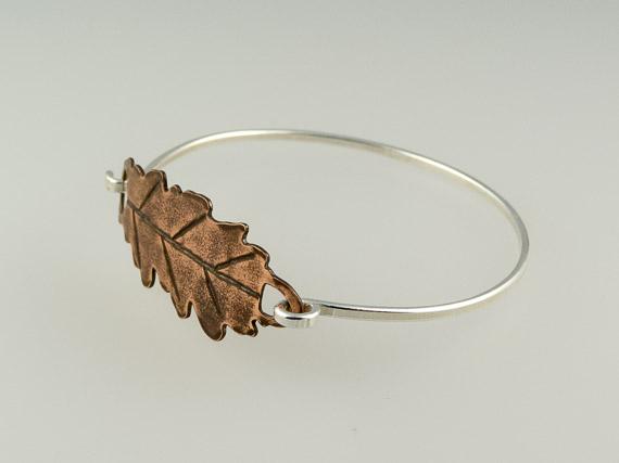 rustic copper and silver oak lead bracelet €27.50
