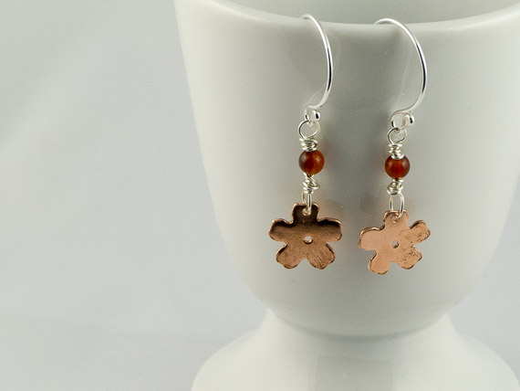 copper and silver cherry blossom earrings €21.50