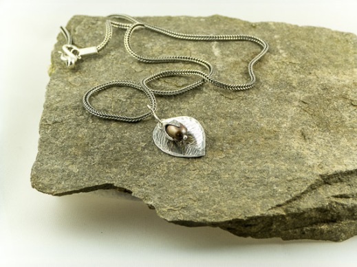silver beech leaf necklace with freshwater pearl €46