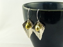 silver birch leaf earrings with freshwater pearls €35
