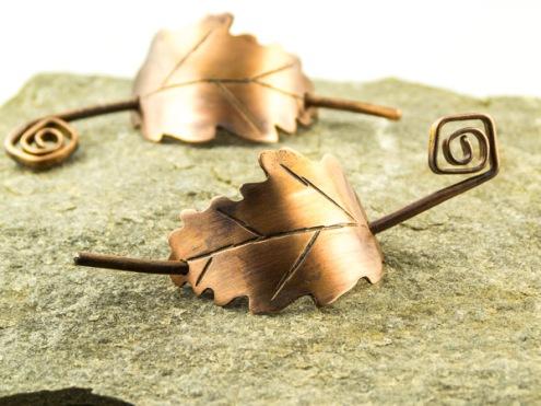 small copper oak leaf grip €23