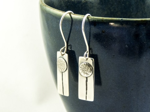 silver dandelion seed earrings