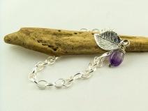 silver leaf charm bracelet
