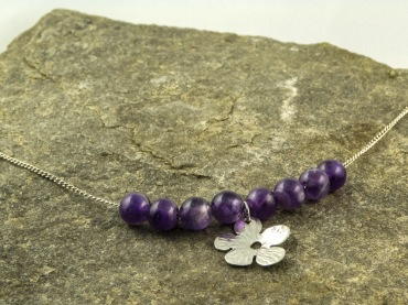 amethyst and silver blossom necklace