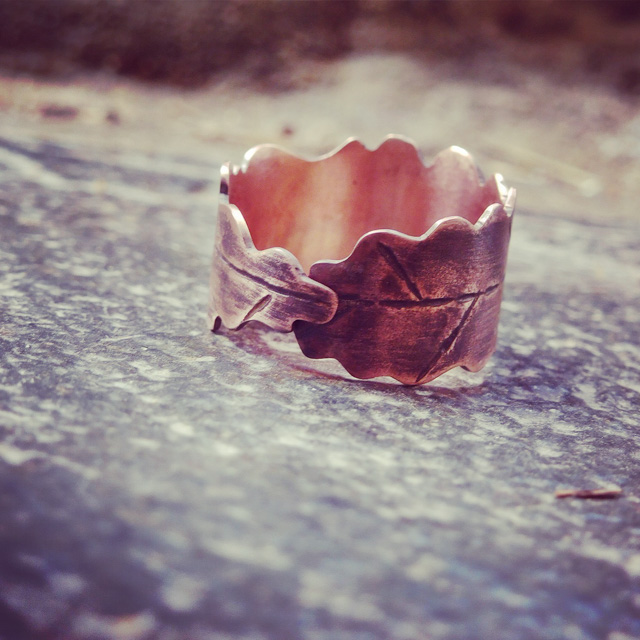 copper oak leaf ring