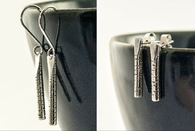 silver birch earrings, drop and post versions