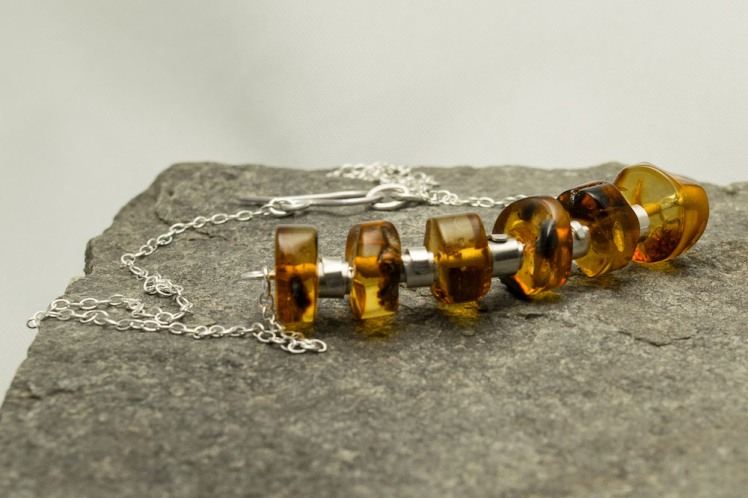 amber and silver beaded necklace
