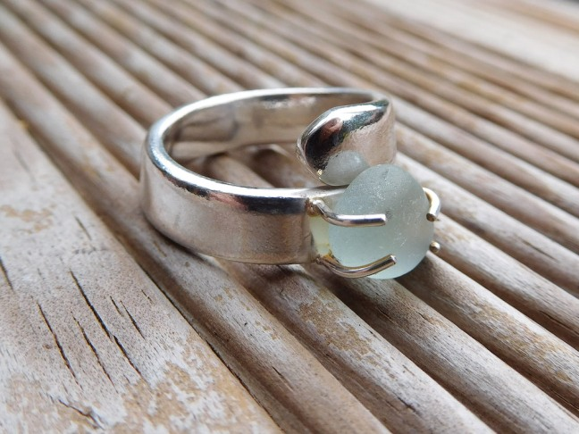 claw set sea glass and silver ring